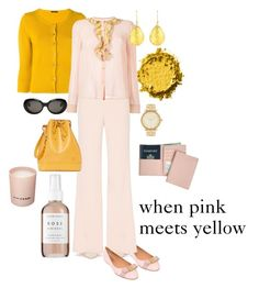 """""""When pink meets yellow competition #1"""" by mara-wink ❤ liked on Polyvore featuring Salvatore Ferragamo, Herbivore, Samantha Sung, Prada, Alice + Olivia, RED Valentino, Acne Studios, Latelita, Royce Leather and Michael Kors"""