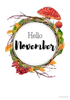Hello November - monthly cover for planners, bullet journals Metal Print by vasylissa Hallo November, Welcome November, November Month, Hello December, Bullet Journal Month, Bullet Journal Themes, Bullet Journal Inspiration, Bullet Journals, Journal Stickers