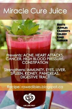 Recipe @:  http://rawedibles.blogspot.com/2013/05/miracle-cure-juice.html  This is the miracle cure juice! It helps with a variety of issues in the body and helps regenerate cells and infuses them with nutrients in a fast, efficient manner. There are many benefits from drinking this juice such as: go to site....awesome info. on this drink!