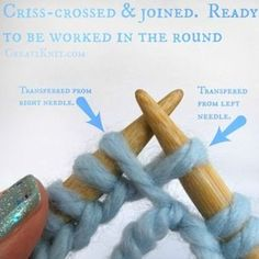 Learn How to Join in the Round With Circular Knitting! 2019 Picture of The Two Stitches You Transferred Will Look Criss-crossed The post Learn How to Join in the Round With Circular Knitting! 2019 appeared first on Knit Diy. Knitting Help, Easy Knitting, Knitting For Beginners, Knitting Socks, Knitting Stitches, Knitting Needles, Slip Stitch Knitting, Knitting Wool, Circular Knitting Patterns