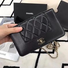 b4f5d79455 Chanel Black Lambskin Wallet on Chain WOC Bag #Chanelhandbags  #brandedladiesbagssale