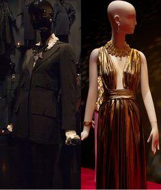 YSL: THE RETROSPECTIVE  The fabulous Le Smoking women's tuxedo suit. Right: Glamorous gold lamé (photos by Erica Nikolaidis)