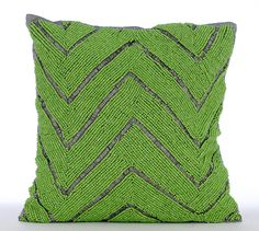 Luxury Green Pillow Cases Beaded Green Chevron by TheHomeCentric