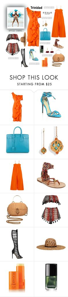 """Trinidad outfit for travel"" by beautymanifesting ❤ liked on Polyvore featuring Christian Siriano, Alexandre Birman, Apiece Apart, Circus by Sam Edelman, Chanel, Boohoo, Paul Andrew, KOCCA and Fresh"