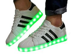 Oudy Couples 7 Colors USB Charging LED Shoes Nightclub Flashing Sneakers White US 55 -- To view further for this item, visit the affiliate link Amazon.com.