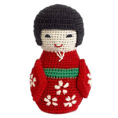 Crochet Knitted Japanese Doll with Bell by Anne Claire Petit Knitting Loom Dolls, Knitted Dolls, Crochet Dolls, Crochet Yarn, Amigurumi Doll, Amigurumi Patterns, Crochet Patterns, Asian Doll, Rabbit Toys