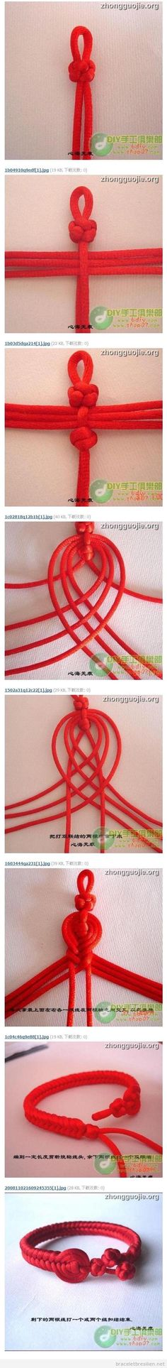 Tutoriel, bracelet queue de rat noeuds style asiatique, pas a pas