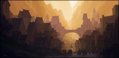 Fantasy Environment Concept Art Painted by Andreas Rocha Fantasy Places, Fantasy World, Fantasy Art, Art Et Illustration, Illustrations, Cities, Fantasy Setting, Art Station, Inspirational Artwork
