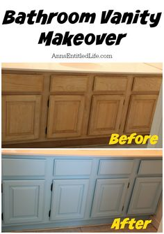 Bathroom Vanity Makeover; the step by step process of updating our bathroom vanity built-ins in our Florida condo. http://www.annsentitledlife.com/renovations/bathroom-vanity-makeover/