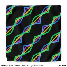 Abstract Neon Colorful Pattern on Black Cool Bandana Cool Bandanas, Vibrant Colors, Colorful, Neon Glow, School Spirit, Front Design, Cool Patterns, Green And Orange, Simple Designs