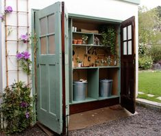 mini garden Roundup: 11 Irresistible Garden Sheds and Greenhouses - Gardenista - Garden / Yard Storage - House Exterior Garden Storage Shed, Diy Shed, Storage Sheds, Garden Tool Shed, Small Storage, Tool Storage, Painted Garden Sheds, Shed Conversion Ideas, Lean To Shed