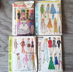 VINTAGE Retro Barbie Clothing Patterns Lot of 4 | Vintage Barbie | Sewing Pattern for Barbie| Clothing for Barbie | #762