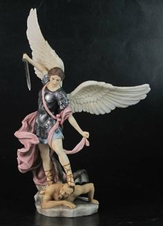 Saint Michael Archangel of Protection Hand Painted Statue – Beattitudes Religious Gifts