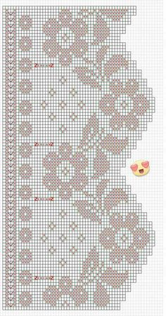 filet edging chart valance curtain flower