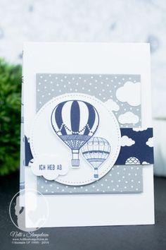 Nellis Stempeleien Karte mit Heißluftballons handgestempelt mit dem Stempelset Abgehoben von Stampin' UP!. Papier: Traum vom Fliegen, Sale-a-bration 2017 Gratisdesignerpapier Lift me up
