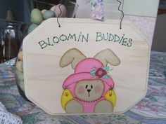 Easter Sign Bunny Sign Easter Decorations by BrownBeaverBeadery