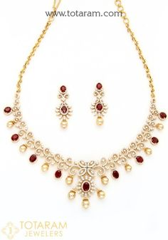 18 Karat Gold Diamond Necklace & Earrings Set with Ruby & South Sea Pearls Net Gold Weight : 52.350 Grams