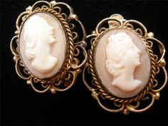 Vintage Carved Shell Cameo Earrings Gilded by TheJewelryLadysStore, $22.00