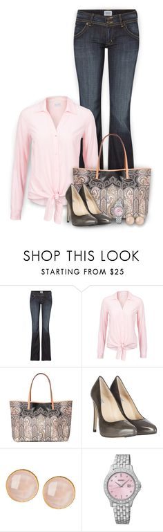 """""""Blush"""" by mwaldhaus ❤ liked on Polyvore featuring Hudson Jeans, Etro, AllSaints, Saachi and Seiko"""