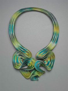 Necklace | Elise Winters. 'Citron Cascade Ruffle'  Polymer clay, acrylic paint, and acrylic glaze