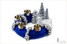 Adventskranz in Blau / Silber