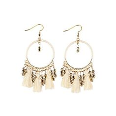 Geometrical Bohemian Tassel Circle Drop Earrings WHITE: Earrings  ... ($2.82) ❤ liked on Polyvore featuring jewelry, earrings, bohemian jewelry, tassle earrings, drop earrings, circle earrings and earring jewelry