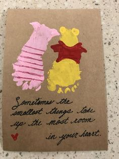 Footprint Art - Winnie The Pooh - Gift from Baby # . - Footprint Art – Winnie The Pooh – Baby Gift day gift footpr - Daycare Crafts, Baby Crafts, Cute Crafts, Crafts To Do, Preschool Crafts, Crafts For Kids, Valentine Crafts For Toddlers, Infant Crafts, Daycare Rooms