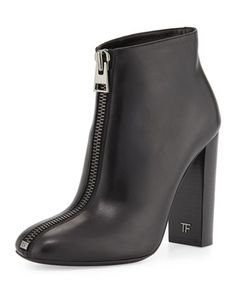 Front-Zip Leather Bootie, Black by TOM FORD at Neiman Marcus.