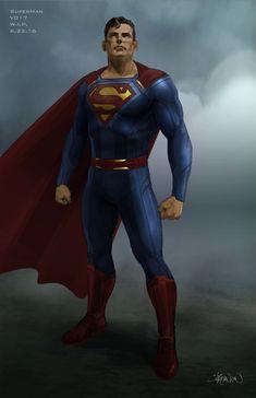 Superman costume concept for 'SuperGirl' Superman Suit, Superman Man Of Steel, Andre Luis, Steel Dc Comics, Superman Costumes, Famous Cartoons, Dc Comics Art, Dc Characters, Superhero Movies