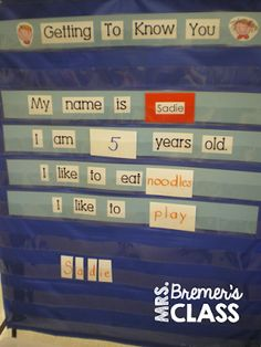 """Bremer's Kindergarten: beginning of school year - Getting to Know You - make your own class book to take home Could be great for a """"student of the week"""" format Kindergarten Names, Beginning Of Kindergarten, Kindergarten Classroom, Kindergarten Activities, Classroom Ideas, Classroom Charts, Preschool Writing, Classroom Resources, Future Classroom"""