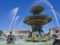 Fountains in the Place de la Concorde, Paris, France, Europe Concorde, France Europe, Paris France, Statue Of Liberty, Fountain, Landscape, Places, Outdoor Decor, Prints