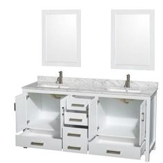 Wyndham Collection Sheffield 70 In Double Vanity Cabinet With 24 Mirrors White