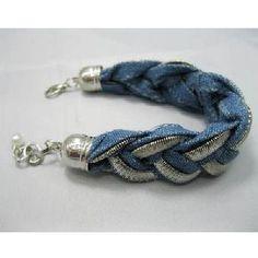 handmade denim fabric bracelet korean designer costume jewelry supplier factory