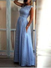 New Arrival Elegant High-Waisted Pocket Holiday Maxi Dress Diy Mode, Mode Outfits, Casual Outfits, Mode Inspiration, Ladies Dress Design, Boho Dress, Evening Dresses, Maxi Dresses, Bride Dresses