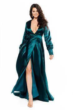 A&N Curve - Teal Paloma Satin Long Sleeve Gown with V Neckline & Slit Satin Gown, Satin Dresses, Gowns, Curve Prom Dresses, Formal Dresses, Teal Fabric, Satin Fabric, Plus Size Formal, Long Sleeve Gown
