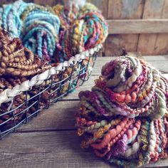 Big and bold handspun yarns! Big Yarn, Yarn Stash, Chunky Wool, Hand Dyed Yarn, Yarn Colors, Knitting Yarn, Yarns, Spinning, Needlework