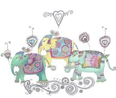 Three designed elephants illustration by Hannah Davies