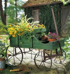 Wooden Planter Country Wagon Amish Outdoor Garden Yard Indoor Plants Spring New