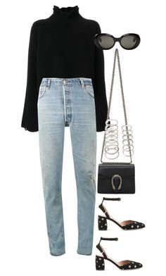 """""""Untitled #4317"""" by lily-tubman ❤ liked on Polyvore featuring Golden Goose, RE/DONE, Valentino, Gucci, Forever 21 and Acne Studios"""