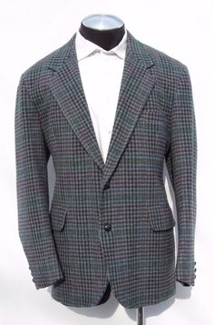 ~SOLD~Pendleton 100% Wool Tweed Multi-Colored Big Houndstooth Blazer Sport Coat 46 EUC #Pendleton #TwoButton