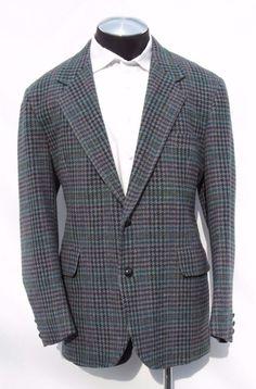 ~SOLD~Pendleton 100% Wool Tweed Multi-Colored Big Houndstooth Blazer Sport Coat 46 EUC #Pendleton #TwoButton