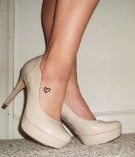 Tiny Heart Tattoo On Foot For Girls