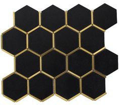 Inlay Brass Gold Hexagon Black Tile Inlay Brass Gold Hexagon Black Tile for kitchen backsplash, bathroom wall, and feature walls. Gold Kitchen, Kitchen Backsplash, Lotus Kitchen, Kitchen Cupboards, Cabinets, Hexagone Tile, Hexagon Mosaic Tile, Black Hexagon Tile, Hexagon Tile Backsplash