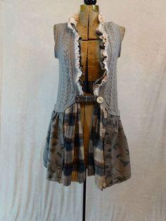 Upcycled Clothing / Funky Eco Tunic Vest / Lagenlook Clothing  / Duck Dynasty Vest / Medium / Large /