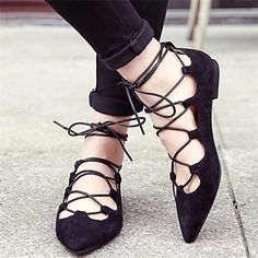 Black pointed toe lace-up flats. Also available in bright purple for something different + fun!