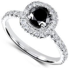 1 1/6 Carat TW Black and White Round Diamond Engagement Ring in 14k White Gold - Size 9