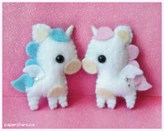 """Angelic Unicorns"" by Nikkie Stinchcombe of Paper Forest. Felt plushies available at LittlePaperForest @ DeviantArt.com. (© 2010)"