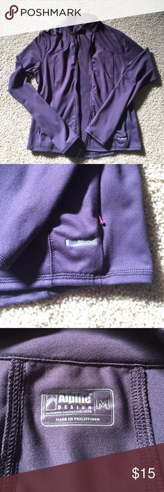 Deep purple Alpine Designs jacket, size medium Deep purple Alpine Designs jacket, size medium. 2 zip pockets with pink zipper. 88% polyester, 12% spandex. No tears or holes. Comes from a smoke free home Alpine Designs Jackets & Coats