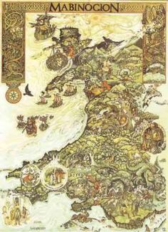 Map of the Wales of the Mabinogion.  (The Mabinogion is the title given to a collection of eleven prose stories collated from medieval Welsh manuscripts)
