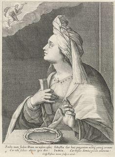 Crispijn van de Passe (I)   Sibille van Samos, Crispijn van de Passe (I), 1615   De Sibille van Samos zit aan een tafel en kijkt op naar de hemel waar Christus met het kruis verschijnt. In haar rechterhand houdt ze een opgerold vel papier. Op de tafel ligt een doornenkroon. In de marge een onderschrift in het Latijn. Prent uit een serie met sibillen.